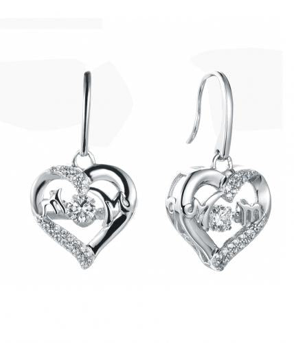 Rhodium CZ Drop Heart Dancing 925 Silver Jewelry Earring FE36602A