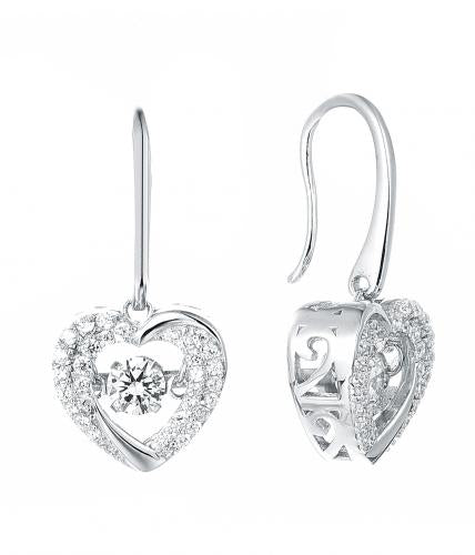 Rhodium CZ Drop Heart Dancing 925 Silver Jewelry Earring FE37902A
