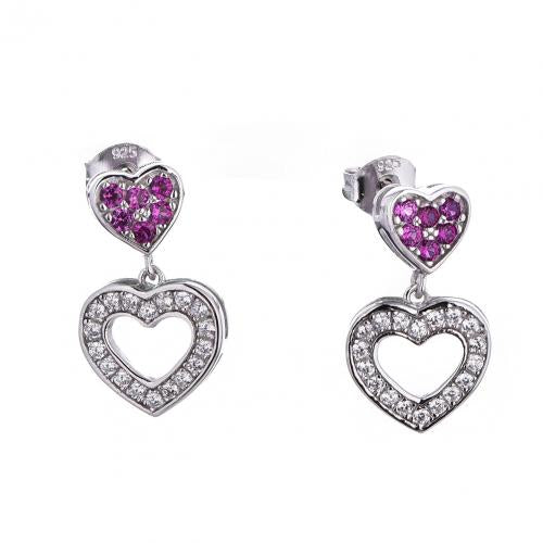Rhodium Ruby Drop Heart 925 Sterling Silver FE41206A
