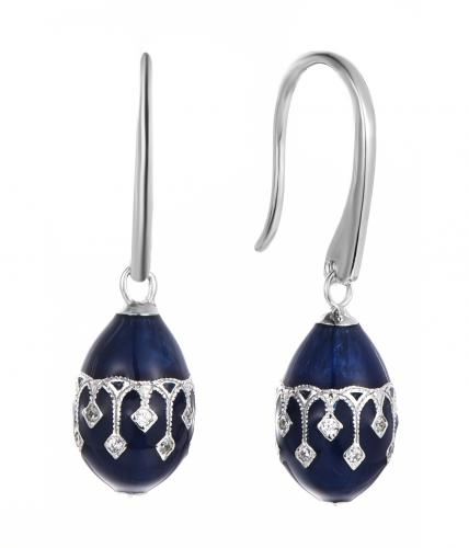 Painting CZ Drop Ball 925 Sterling Silver Earring FE009D5B