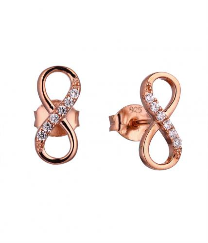 Rose Gold CZ Stud Infinity 925 Sterling Silver Earring FE018D7A