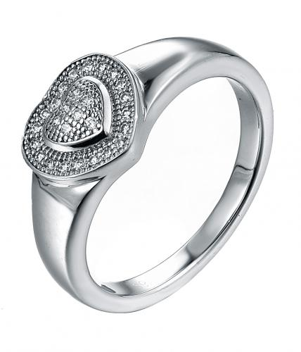 Rhodium CZ Heart 925 Silver Jewelry Ring FL00404A