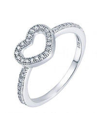 Rhodium CZ Heart 925 Silver Jewelry Ring FL00707A