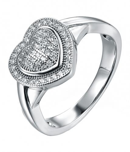 Rhodium CZ Heart 925 Silver Jewelry Ring FL02007A