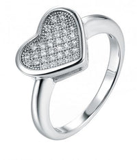 Rhodium CZ Heart 925 Silver Jewelry Ring FL02205A