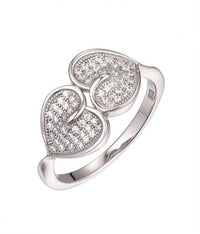 Rhodium CZ Heart 925 Silver Jewelry Ring FL02404A