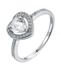 Rhodium CZ Halo Heart Engagement 925 Sterling Silver Ring FL03703A
