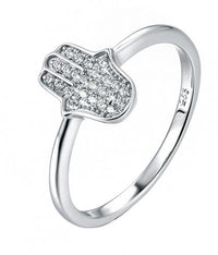 Rhodium CZ Character 925 Sterling Silver Ring FL04708A