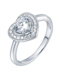 Rhodium CZ Halo Heart Engagement 925 Sterling Silver Ring FL04904A