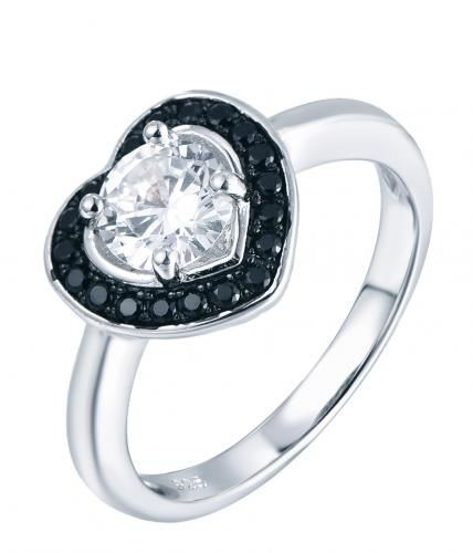 Rhodium CZ Halo Heart Engagement 925 Sterling Silver Ring FL04904C