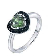 Rhodium Emerald Halo Heart Engagement 925 Sterling Silver Ring FL04904I