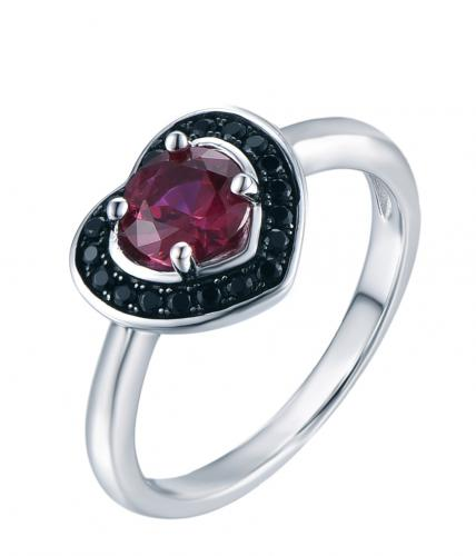 Rhodium Ruby Halo Heart Engagement 925 Sterling Silver Ring FL04904J