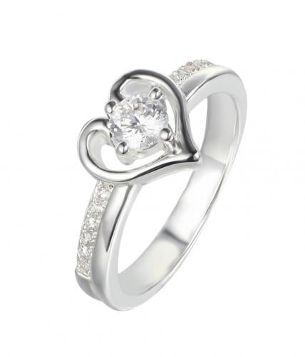 Silver CZ Solitaire Heart Engagement 925 Sterling Silver Ring FL06701C
