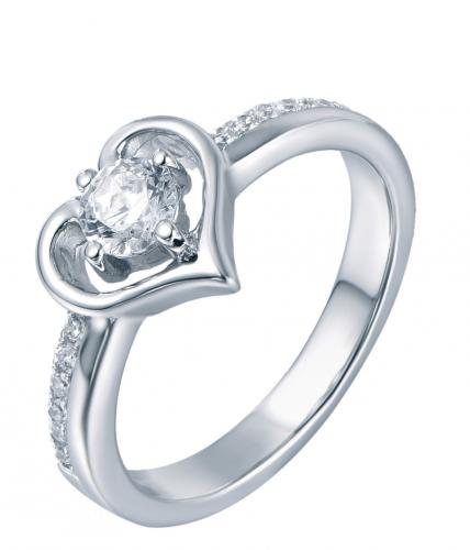 Rhodium CZ Stackable Heart Stackable 925 Sterling Silver Ring FL06701D