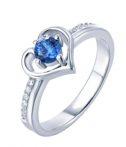 Rhodium Sapphire Stackable Heart Stackable 925 Sterling Silver Ring FL06701H