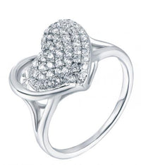 Rhodium CZ Heart 925 Silver Jewelry Ring FL07304A