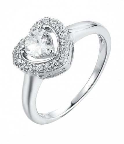 Rhodium CZ Halo Heart Engagement 925 Silver Jewelry Ring FL11909A
