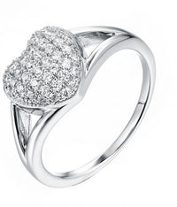 Rhodium CZ Heart 925 Silver Jewelry Ring FL12308B