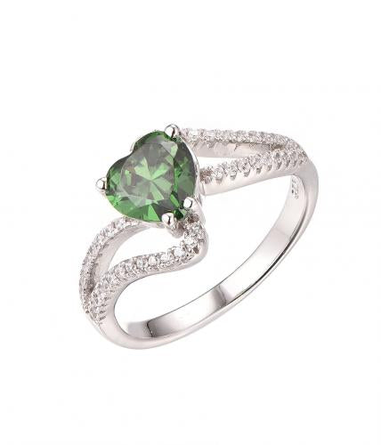 Rhodium Emerald Stackable Heart Stackable 925 Sterling Silver Ring FL14303A