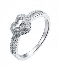 Rhodium CZ Heart 925 Silver Jewelry Ring FL14501A
