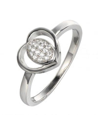 Rhodium CZ Heart 925 Silver Jewelry Ring FL14803A