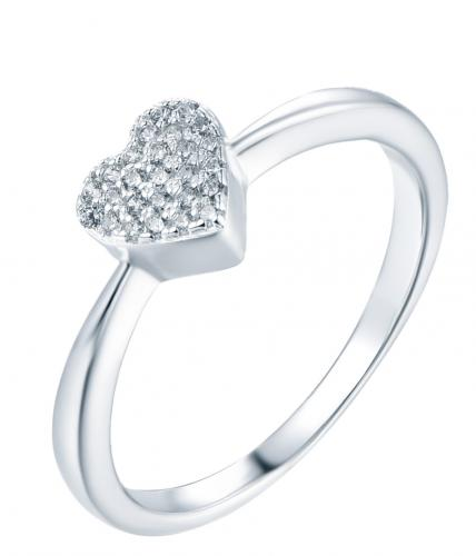 Rhodium CZ Heart Stackable 925 Silver Jewelry Ring FL15403A