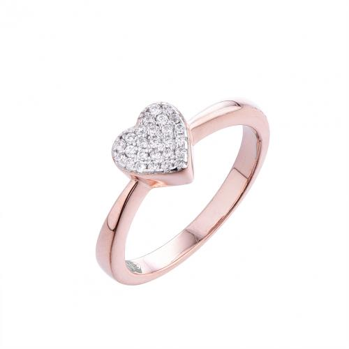 Rose Gold CZ Heart Stackable 925 Silver Jewelry Ring FL15403C