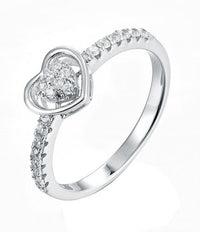 Rhodium CZ Heart Stackable 925 Silver Jewelry Ring FL15504A