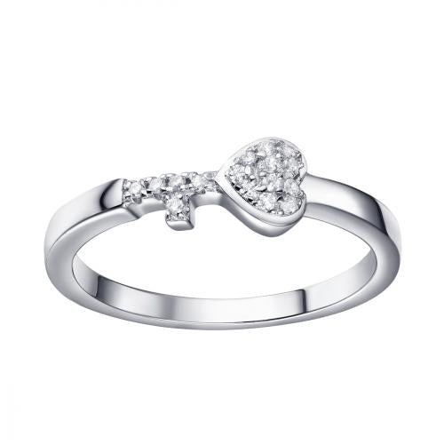 Rhodium CZ Heart Stackable 925 Silver Jewelry Ring FL16201A