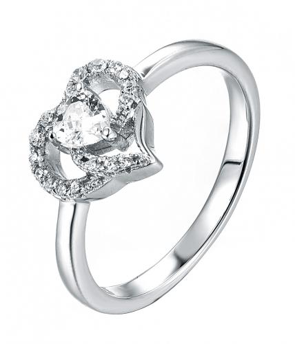 Rhodium CZ Halo Heart Engagement 925 Silver Jewelry Ring FL16503A