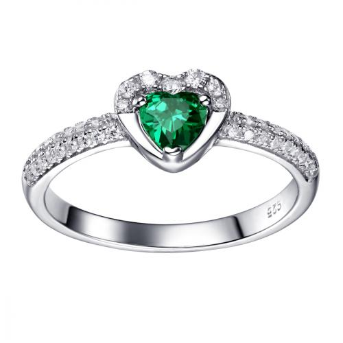 Rhodium Emerald Heart Stackable 925 Silver Jewelry Ring FL16604A