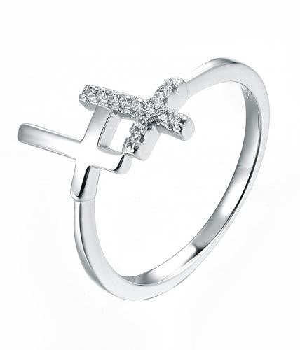 Rhodium CZ Cross 925 Sterling Silver Ring FL17201A
