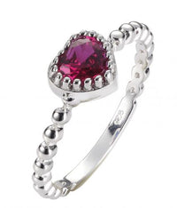 Rhodium Ruby Stackable Heart Stackable 925 Sterling Silver Ring FL17307L