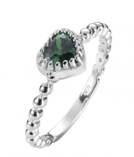 Rhodium Emerald Stackable Heart Stackable 925 Sterling Silver Ring FL17307M