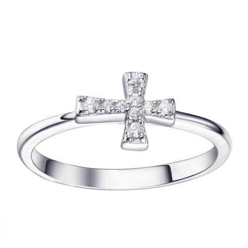 Rhodium CZ Cross 925 Sterling Silver Ring FL17308A