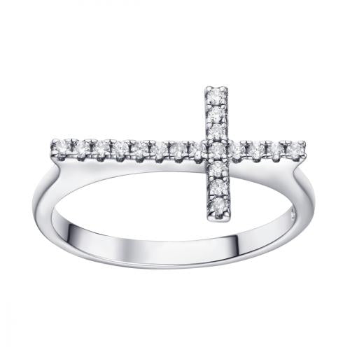 Rhodium CZ Cross 925 Sterling Silver Ring FL17309A
