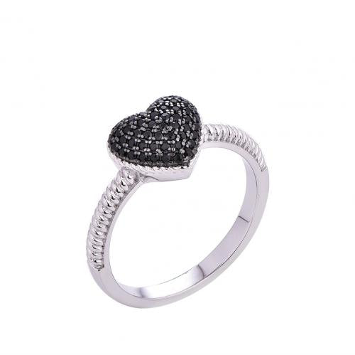 Rhodium Spinel Heart Stackable 925 Silver Jewelry Ring FL19009B