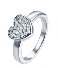 Rhodium CZ Heart 925 Silver Jewelry Ring FL19403A
