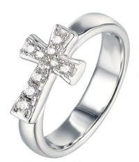 Rhodium CZ Cross 925 Sterling Silver Ring FL19709A