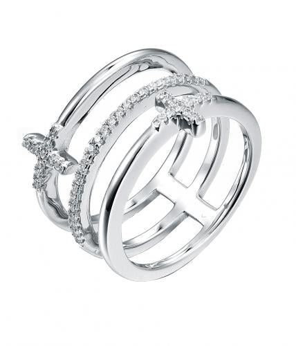 Rhodium CZ Cross 925 Sterling Silver Ring FL20108A