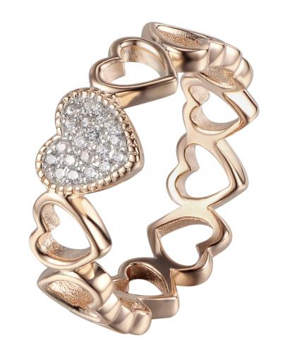 Rose Gold CZ Heart Stackable 925 Silver Jewelry Ring FL20808A