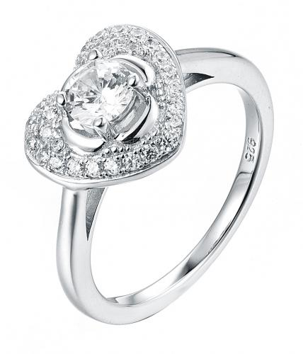 Rhodium CZ Halo Heart Engagement 925 Silver Jewelry Ring FL20906A