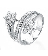 Rhodium CZ Twist Star Fashion 925 Sterling Silver Ring FL22002A
