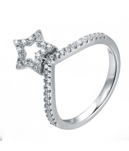 Rhodium CZ Twist Star Fashion 925 Sterling Silver Ring FL23007A