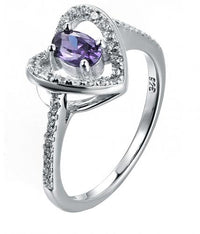 Rhodium Amethyst Halo Heart Engagement 925 Sterling Silver Ring FL23105A