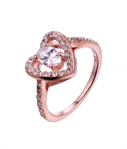 Rose Gold CZ Halo Heart Engagement 925 Sterling Silver Ring FL23105B