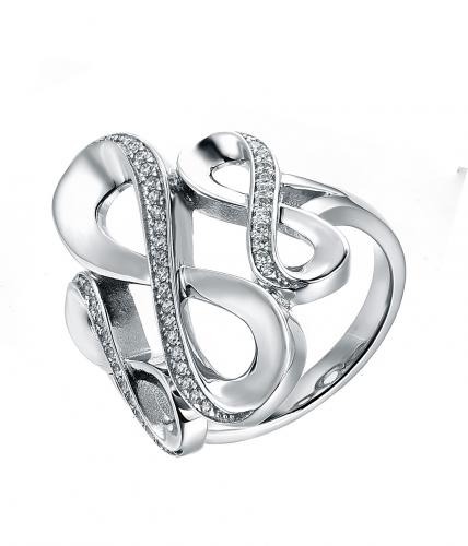 Rhodium CZ Infinity 925 Sterling Silver Ring FL23609A