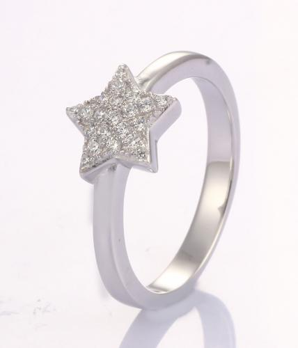 Rhodium CZ Star Fashion 925 Sterling Silver Ring FL23800A