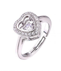 Rhodium CZ Heart Dancing 925 Sterling Silver Ring FL26403A