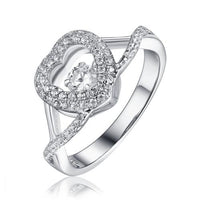 Rhodium CZ Heart Dancing 925 Sterling Silver Ring FL26408A